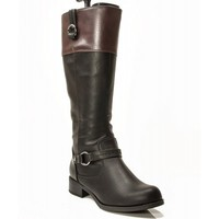 New Soda Leatherette Buckle Two Tone Knee High Riding Motorcycle Boots BLACK BROWN