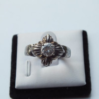 Silver Vintage Ring with Round CZ Stone, Size 8, Silver 925