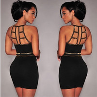 Ladies Sleeveless Bandage Bodycon Club Party Evening Cocktail Short Mini Dress = 1946643780