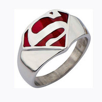 AMAZING 925 STERLING SILVER RING LIKE SUPER MAN SYMBOL FOR BOYS