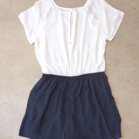 .Weekender White & Navy Romper : Feminine, Bohemian, & Vintage Inspired Clothing at Affordable Prices, deloom