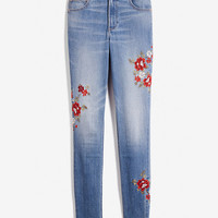 High Waisted Embroidered Stretch Ankle Jean Leggings