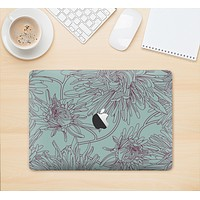 "The Teal Aster Flower Lined Skin Kit for the 12"" Apple MacBook (A1534)"