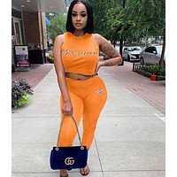 Champion Newest Popular Women Casual Print Top Pants Trousers Set Two-Piece Sportswear Orange