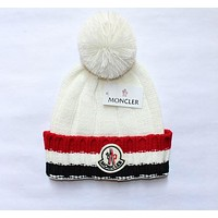 """MONCLER"" Winter Women Cute tab Hairball Warm Hat Knitting Cap"