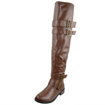 Womens Knee High Boots Multiple Buckle Accent Motorcycle Riding Shoes Cognac SZ