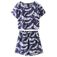 Blue Dragonfly Print Crop Top and Shorts