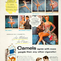 1954 Ad Camel Cigarettes Smoking Tobacco Donna Atwood Ice Skater Sports YBL1