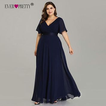 Plus Size Evening Dresses Ever Pretty V-neck Elegant A-line Chiffon Long Party Gowns 2020 Short Sleeve Occasion Dresses