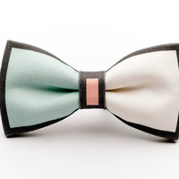 Mint Green Color Block Clip-On Bow Tie
