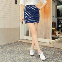 Tiny Slit Polkadot Mini Skirt by Hotping