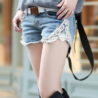 Crochet Lace Jeans Denim Shorts for Women