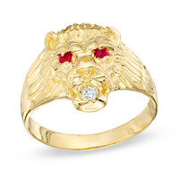 Men's Red and White Cubic Zirconia Lion's Head Ring in 10K Gold - Size 10.5 - - View All - PAGODA.COM