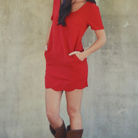 Stunning Scallop Dress: Bright Red | Hope's
