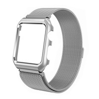 Compatible for Apple Watch Band with Case 42mm, Stainless Steel Mesh Milanese Loop with Adjustable Magnetic Closure Replacement Wristband iWatch Band for Apple Watch Series 3 2 1 - Silver