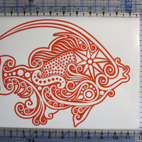 Goldfish Intricate Goldfish Vinyl Decal car truck auto vehicle window custom sticker