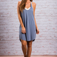 Casual Habits Dress, Slate Blue