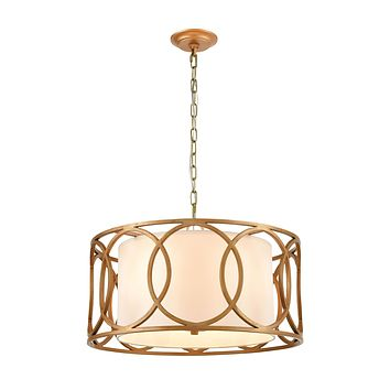 Ringlets 4-Light Chandelier in Golden Silver with White Fabric Shade