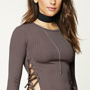 Ribbed Knit Lace-Up Crop Top