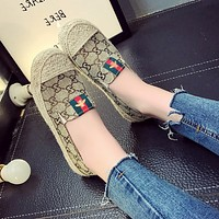 Fashion Casual Retro Straw Weave Double G Print Fisherman Shoes Women Little Bee Loafer Flats Shoes