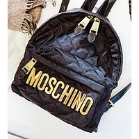 Moschino New fashion letter leather book bag backpack bag women Black