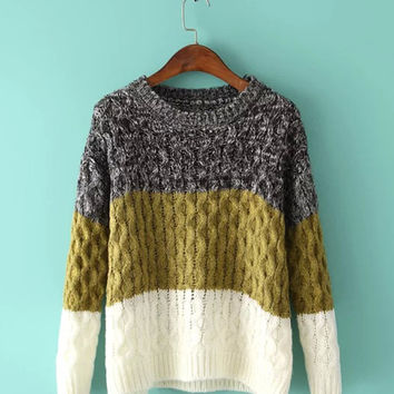 Color Block Long Sleeve Knit Sweater