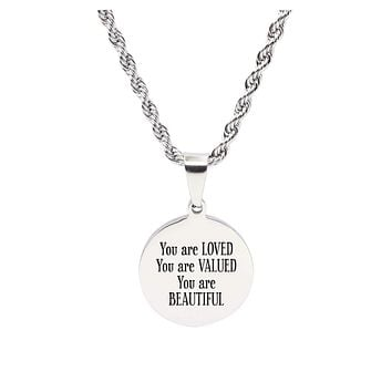 Stainless Steel Round Tag Inspirational Necklace