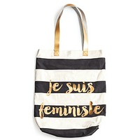 Je Suis Feministe Large Tote with Metallic Gold Accents