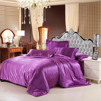 classic imitate silk feel satin solid coffee pink purple bedding set king size duvet cover set bedclothes bed sheet set