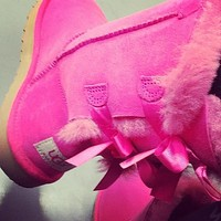 "shosouvenir""UGG"" Fashion Winter Women Cute Bowknot Flat Warm Snow Ankle Boots"