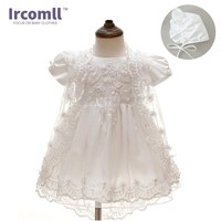 2017  Summer 3PCS Newborn Baby Christening Gown Dress Girls White Princess Lace Chiffon Dresses  for Newborn Baptism