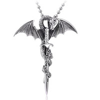 Moon Wings Vintage Sword and Flying Dragon Stainless Steel Men's Pendant Necklace