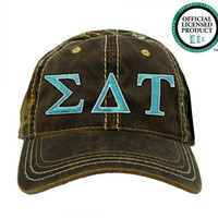 Sigma Delta Tau (SDT) Camo Baseball Hat   Teal & White Letters