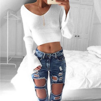 White Bell Sleeve Crop Knitted Top