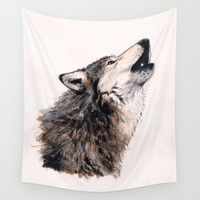 Loup / Wolf Wall Tapestry by Savousepate