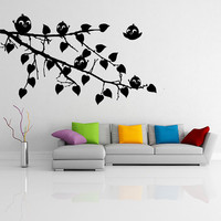 Vinyl Wall Decal Tree Branch with leaves and Five Cute Birds / Happy Nature Forest Creature Art Sticker / Mural + Free Random Decal Gift!