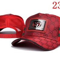 Red Gucci Embroidered Hat Baseball Cap Hat