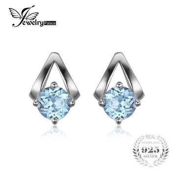 JewelryPalace 1.2ct Round Natural Sky Blue Topaz Stud Earrings 100% Real 925 Sterling Silver 2017 Trendy Fine Jewelry For Women
