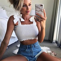 Women Casual Plaid Solid Color Fashion Bowknot Strap Sleeveless Camisole Top Crop Top