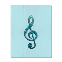 Treble Clef Print, G Clef wall art in aqua, Musical Note Print, rocker art, typography print, choice of print sizes and finish