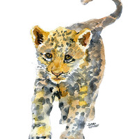 Baby Jaguar Watercolor Painting - 8 x 10 - Giclee Print - Panther Leopard - Animal Painting 8.5 x 11