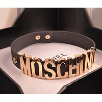 MOSCHINO Stylish Ladies Wide Edition Letter Metal Chain Necklace Leather Exaggerated Neck Strap Accessories