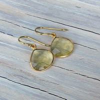 Citrine Crystal Drop Earrings, Faceted Gemstones, Elegant, Yellow Citrine, Gifts for her, Gifts under 30, Fall Jewelry,