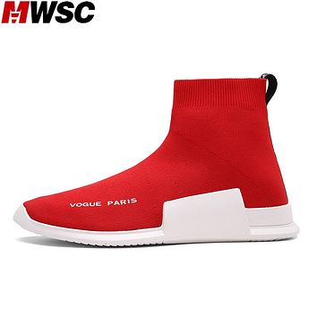 MWSC Autumn Winter Sneakers Mens Fashion Slip On Shoes High Top Male Casual Fly Weave High Top Sock Warm Shoes
