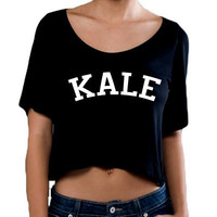 Kale Fine Jersey Short Sleeve Crop T Shirt, Slightly Sheer Cropped Top, Crop Top