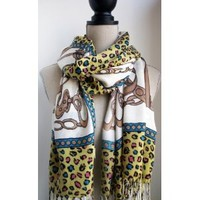 Multicolor Leopard with Chains Pashmina Scarf