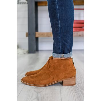 Hallie Booties - Dark Cognac