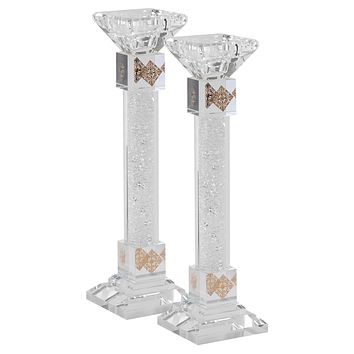 """Candlesticks Crystal Gold With Light Silver Stones 9.5"""""""