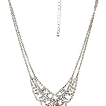 FOREVER 21 Layered Rhinestoned Necklace Silver/Clear One