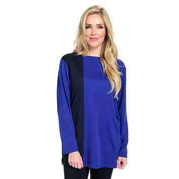 "Knithaus[ ""Farrah"" Long Sleeve Boat Neck Color Block Tunic"